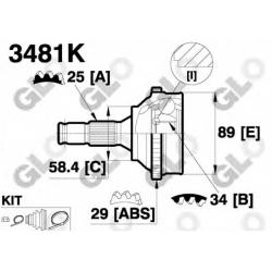 PEUGEOT 406 1.6-2.1, 11/95-08/00 vid.34 išor.25 ABS 29